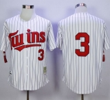 Mitchell And Ness 1991 Minnesota Twins #3 Harmon Killebrew White Blue Strip  Throwback Stitched MLB Jersey