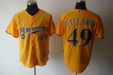 Milwaukee Brewers #49 Yovani Gallardo Yellow Cerveceros Cool Base Stitched MLB Jersey