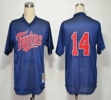 Mitchell And Ness 1991 Minnesota Twins #14 Kent Hrbek Navy Blue Stitched MLB Jersey