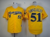 Milwaukee Brewers #51 Michael Gonzalez Yellow Cerveceros Cool Base Stitched MLB Jersey