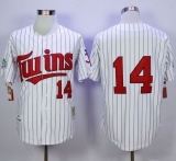Mitchell And Ness 1991 Minnesota Twins #14 Kent Hrbek White Blue Strip Throwback Stitched MLB Jersey