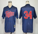 Mitchell And Ness 1991 Minnesota Twins #34 Kirby Puckett Navy Blue Stitched MLB Jersey