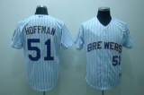 Milwaukee Brewers #51 Trevor Hoffman Stitched White Blue Strip MLB Jersey