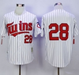 Mitchell And Ness Minnesota Twins #28 Bert Blyleven White Blue Strip Throwback Stitched MLB Jersey