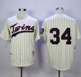 Mitchell And Ness Minnesota Twins #34 Kirby Puckett Cream Strip Throwback Stitched MLB Jersey