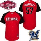 Milwaukee Brewers #57 Francisco Rodriguez Red 2015 All-Star National League Stitched MLB Jersey