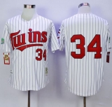 Mitchell And Ness Minnesota Twins #34 Kirby Puckett White Blue Strip  Throwback Stitched MLB Jersey