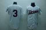 Mitchelland Ness Minnesota Twins #3 Harmon Killebrew Stitched White Blue Strip Throwback MLB Jersey