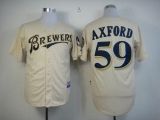 Milwaukee Brewers #59 John Axford Cream YOUniform Cool Base Stitched MLB Jersey