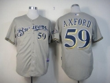 Milwaukee Brewers #59 John Axford Grey Cool Base Stitched MLB Jersey