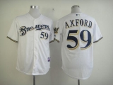 Milwaukee Brewers #59 John Axford White Cool Base Stitched MLB Jersey