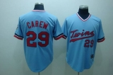 Mitchelland Ness Minnesota Twins #29 Rod Carew Stitched Light Blue Throwback MLB Jersey