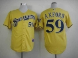 Milwaukee Brewers #59 John Axford Yellow Alternate Cool Base Stitched MLB Jersey