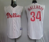 Philadelphia Phillies #34 Roy Halladay White Red Strip  Vest Style Stitched MLB Jersey
