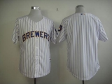 Milwaukee Brewers Blank White  blue strip  Stitched MLB Jersey