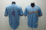 Mitchell and Ness Milwaukee Brewers #4 Paul Molitor Stitched Blue Throwback MLB Jersey
