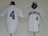 Mitchell and Ness Milwaukee Brewers #4 Paul Molitor Stitched White Throwback MLB Jersey