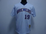 Mitchell and Ness Milwaukee Brewers #19 Robin Yount Stitched White Blue Strip Throwback MLB Jersey