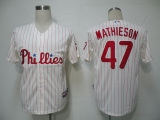Philadelphia Phillies #47 Scott Mathieson White Red Strip Stitched MLB Jersey