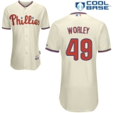 Philadelphia Phillies #49 Vance Worley Cream Cool Base Stitched MLB Jersey