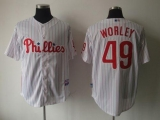 Philadelphia Phillies #49 Vance Worley White Red Strip Cool Base Stitched MLB Jersey