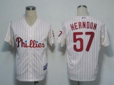 Philadelphia Phillies #57 David Herndon White Red Strip  Cool Base Stitched MLB Jersey