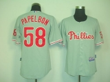 Philadelphia Phillies #58 Jonathan Papelbon Grey Cool Base Stitched MLB Jersey
