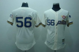 Mitchell and Ness Pilots #56 Jim Bouton Stitched Cream Throwback MLB Jersey