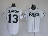 Tampa Bay Rays #13 Carl Crawford Stitched White MLB Jersey