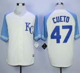 Kansas City Royals #47 Johnny Cueto Cream Exclusive Vintage Stitched MLB Jersey