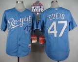 Kansas City Royals #47 Johnny Cueto Light Blue Alternate 1 Cool Base W 2015 World Series Patch Stitched MLB Jersey