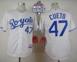 Kansas City Royals #47 Johnny Cueto White Cool Base W 2015 World Series Patch Stitched MLB Jersey
