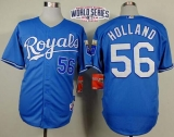 Kansas City Royals #56 Greg Holland Light Blue Alternate 1 Cool Base W 2014 World Series Patch Stitched MLB Jersey