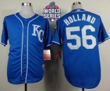 Kansas City Royals #56 Greg Holland Light Blue Alternate 2 Cool Base W 2015 World Series Patch Stitched MLB Jersey