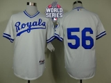 Kansas City Royals #56 Greg Holland White 1974 Turn Back The Clock W 2015 World Series Patch Stitched MLB Jersey