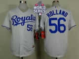 Kansas City Royals #56 Greg Holland White Cool Base W 2015 World Series Patch Stitched MLB Jersey
