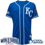 Kansas City Royals Blank Blue Alternate 2 Cool Base W 2014 World Series Patch Stitched MLB Jersey