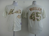 New York Mets #45 Zack Wheeler Cream Blue Strip  USMC Cool Base Stitched MLB Jersey
