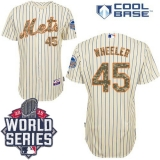 New York Mets #45 Zack Wheeler Cream Blue Strip USMC Cool Base W 2015 World Series Patch Stitched MLB Jersey