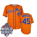 New York Mets #45 Zack Wheeler Orange Los New York Mets Cool Base W 2015 World Series Patch Stitched MLB Jersey