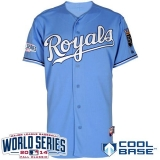 Kansas City Royals Blank Light Blue Cool Base W 2014 World Series Patch Stitched MLB Jersey