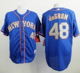 New York Mets #48 Jacob DeGrom Blue Grey NO  Alternate Road Cool Base Stitched MLB Jersey