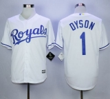 Royals #1 Jarrod Dyson White New Cool Base Stitched MLB Jersey