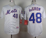 New York Mets #48 Jacob DeGrom White Blue Strip  Home Cool Base Stitched MLB Jersey