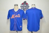 New York Mets Blank Blue Alternate Home Cool Base W 2015 World Series Patch Stitched MLB Jersey