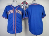 New York Mets Blank Blue Alternate Road Cool Base W 2015 World Series Patch Stitched MLB Jersey