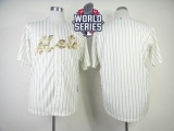 New York Mets Blank Cream Blue Strip  USMC Cool Base W 2015 World Series Patch Stitched MLB Jersey