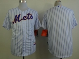 New York Mets Blank White Blue Strip  Home Cool Base Stitched MLB Jersey