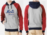 New York Mets Pullover Hoodie Grey & Red