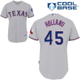 Texas Rangers #45 Derek Holland Stitched MLB Grey Cool Base Jersey